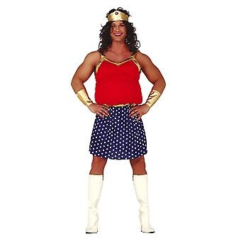 Mens Fat Heroïne Wonder Woman Fancy Dress Kostuum