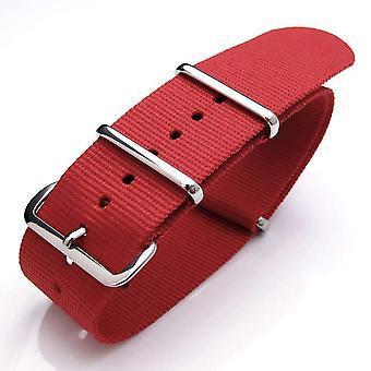 Strapcode n.a.t.o حزام ووتش 18mm الحرارة مختومة الثقيلة النايلون مشبك مصقول - أحمر