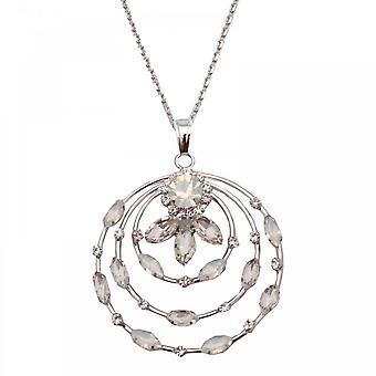 Nour London Circle Crystal Opal Pendant Necklace