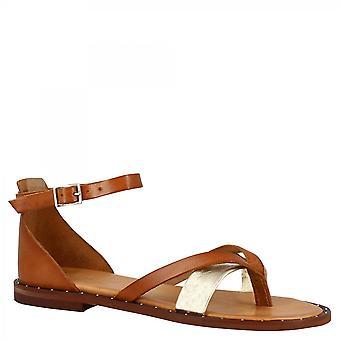Zapatos Leonardo Mujeres's sandalias hechas a mano de tanga baja bronce de cuero laminado platino