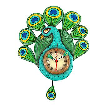 Allen Designs Pretty Peacock Pendulum Wall Clock