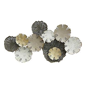Contemporary Style Metal Wall decor with Floral Design, Multicolor