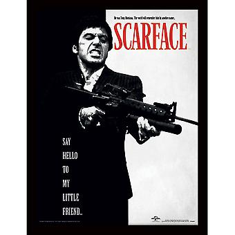 Scarface Say Hello To My Little Friend Inramad Tavla 30*40cm