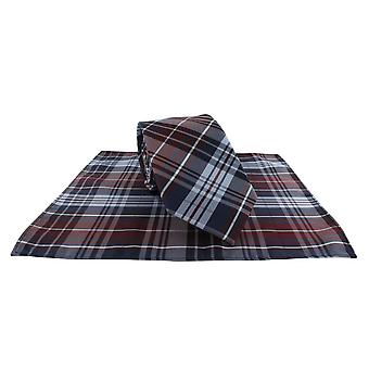 Michelsons of London Country Check Tie and Pocket Square Set - Wine Red