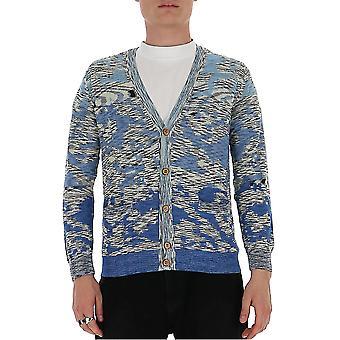 Missoni Mum00108bk00kfs70h6 Men's Blue Cotton Cardigan
