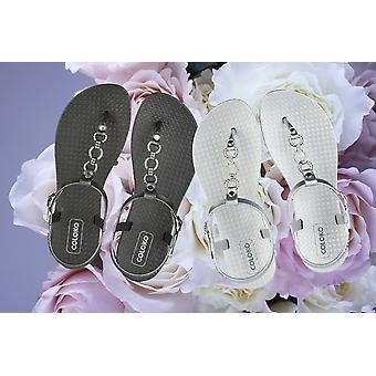 Coloko Cosmos Ergonomic Footbed T-Bar Sandals with Jewel Chain Detail