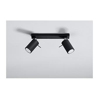Ring Ceiling Lamp Black Steel 2 Bulbs