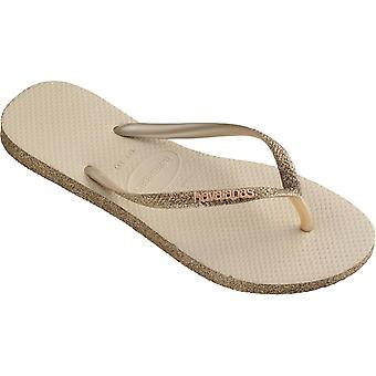 Havaianas Slim Sparkle Flip Flops Beige 12