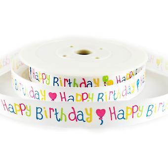 20m White 15mm 'Happy Birthday' Satin Ribbon for Giftwrap
