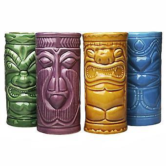 4x Ceramic Mugs - Tiki