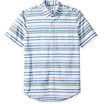 Essentials Men's Slim-Fit KurzarmTasche Oxford Shirt, Blau Horiz...