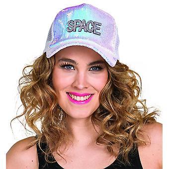 Space Cap White Glinsterende Sequin Cap Glittercap Rijnsteen Hoed