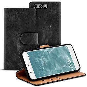 Vintage Book Case with Card Slot for Huawei P10 Plus Navy Wallet Leatherette Black