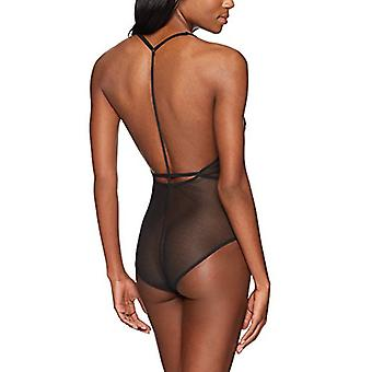 Brand - Mae Women's T-Back Lace And Mesh Bodysuit, Black, Medium