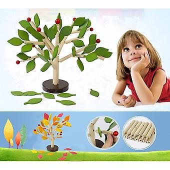 Wooden Assembled Tree Leaf Building Blocks Interactive Game Educational Toy
