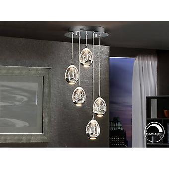 Schuller Roc - LED integrado 5 cristal de luz racimo gota techo colgante cromo
