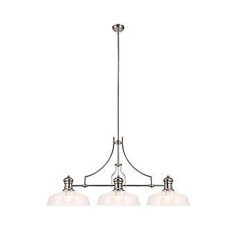 Iluminación luminosa - Colgante de techo lineal con 38 cm de sombra redonda plana, 3 x E27, níquel pulido, vidrio transparente