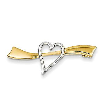 14k Two Tone Gold Solid Satin Polished Love Heart Pin Jewelry Gifts for Women - 1.9 Grams