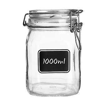 Bormioli Rocco Lavagna Glass Storage Jar with Chalkboard Label - Food Pasta Jam Preserving Container - 1L