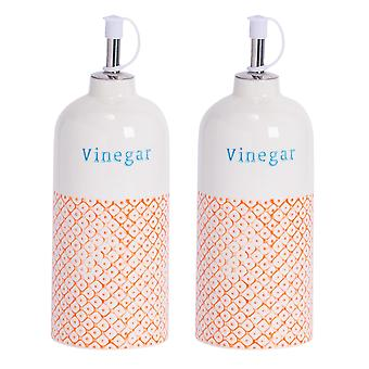 Nicola Spring 2pc Hand-Printed Vinegar Bottle with Pourer Set - Porcelain with Stainless Steel Spout - Orange - 500ml