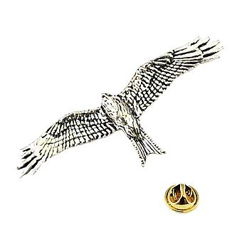 Ties Planet Red Kite Bird Engels Pewter Repel Pin Badge