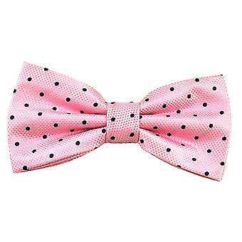 Ties Planet Gold Label Pink & Navy Blue Polka Dot Silk Bow Tie