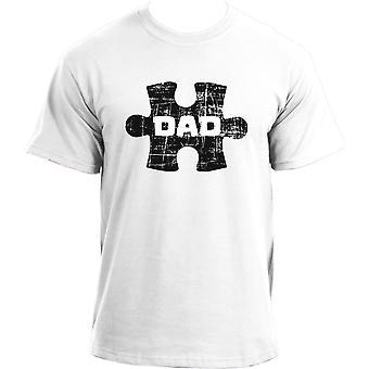 Autism DAD Distressed Puzzle T-Shirt I Autism Awareness T-Shirt  I Support Autistic Parents Tshirt For Men