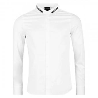 Emporio Armani L/S Koszula Białe logo Taśma Trim 6H1CA6 1NXYZ