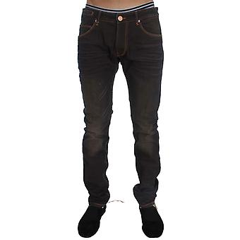 Elegancki outlet Brown Wash Cotton Stretch Slim Fit Jeans