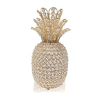 "15"" Faux Crystal and Gold Pineapple Sculpture"