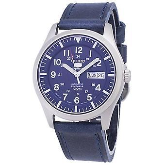 Seiko 5 Sports Snzg11j1-ls13 Japon Made Dark Blue Leather Strap Men's Watch