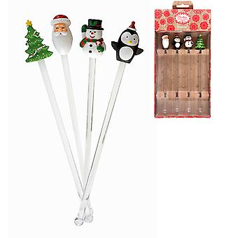 Eddingtons Festive Christmas Drink Stirrers, Set of 4