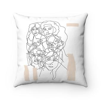Interconnected Beige Square - Polyester Pillow