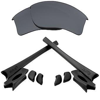 Polarizované náhradní čočky Kit pro Oakley Flak Bunda XLJ Černá Iridium Černá Anti-Scratch Anti-Glare UV400 SeekOptics
