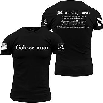חולצה מוגדרת של דייג בסגנון נהמה - שחור