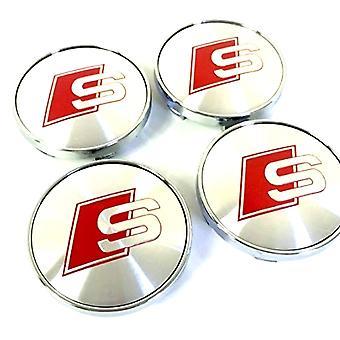 Chrome-Red S-Line Audi Car Wheel Center Caps Hub Cover 60mm 4 PCS For A3 A4 A6 A8 TT