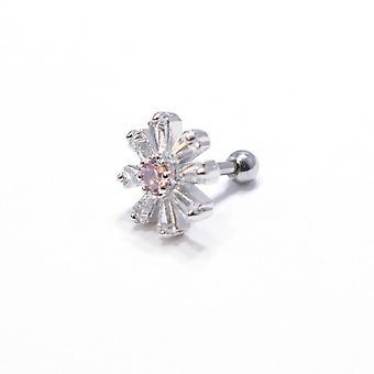 Kraakbeen tragus bar prinses gesneden cz bloemblaadje met roze cz centrum 316l staal