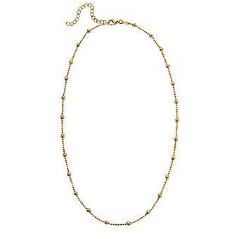 Anfänge vergoldet 925 Sterling Silber Kugel Perle und Kette Station Halskette der Länge 41-46cm