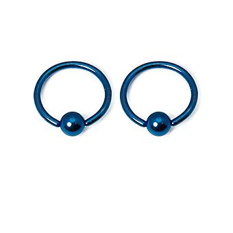 Anodized titanium 16g captive bead ring - sold in pairs
