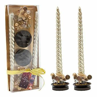 Christmas Decoration candle in holder with decorative ring gold color 6/1