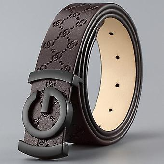 Cow Genuine Leather Men Belt, Smooth Buckle High Quality, Male Strap