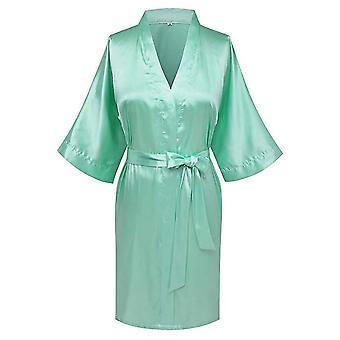 Women's Satin Wedding Kimono Bride Robe Sleepwear Bathrobe Nightgown Bridal