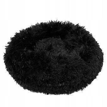 Hondenmand rond - 90 cm - Zwart Polyester Pluche