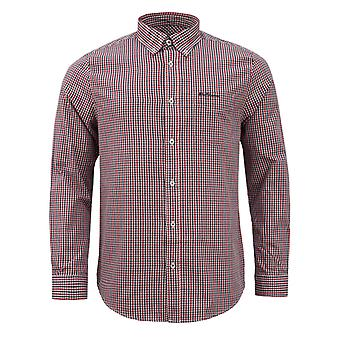 Ben Sherman Mens Checkered Shirt Long Sleeve Plaid Top 0062083 Red