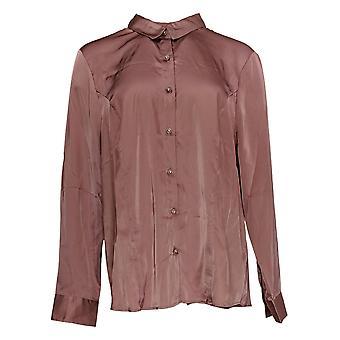 Dennis Basso mulheres ' s Top Stretch botão frente blusa rosa A298273