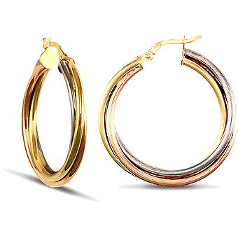 Jewelco London Ladies 9ct Yellow White and Rose Gold Russian Wedding Ring 3mm Hoop Boucles d'oreilles 29mm