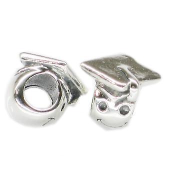 Graduate Mortarboard Sterling Silver Bead Charm .925 X1 Graduation Perles - 4353