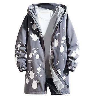 Men's Plain Trench Zipper Thick Polka Dot Hooded Dust Coat