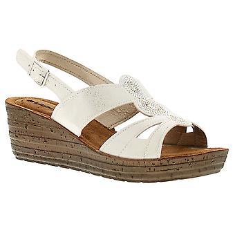 Inblu inlet womens ladies wedge sandals white UK Size