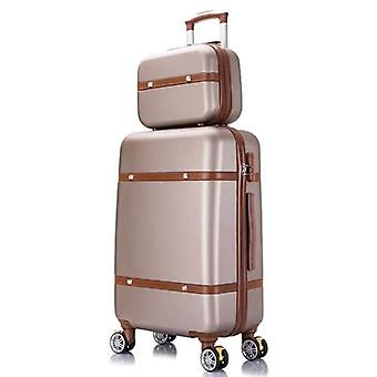 Women Travel Luggage Set Trolley Suitcase With Cosmetic Bag, Wheeled Rolling